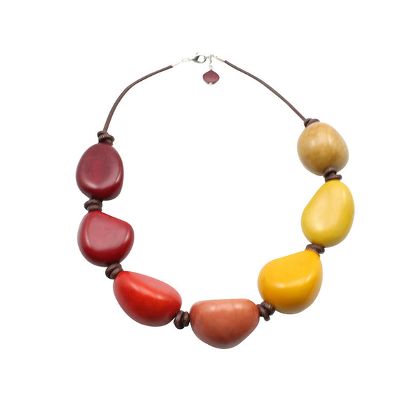 Yello and Orange Tones Mix Vegetable Ivory Statement Necklace