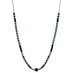 STERLING SILVER CHAIN NECKLACE IN AQUA AND BURGUNDY TONES