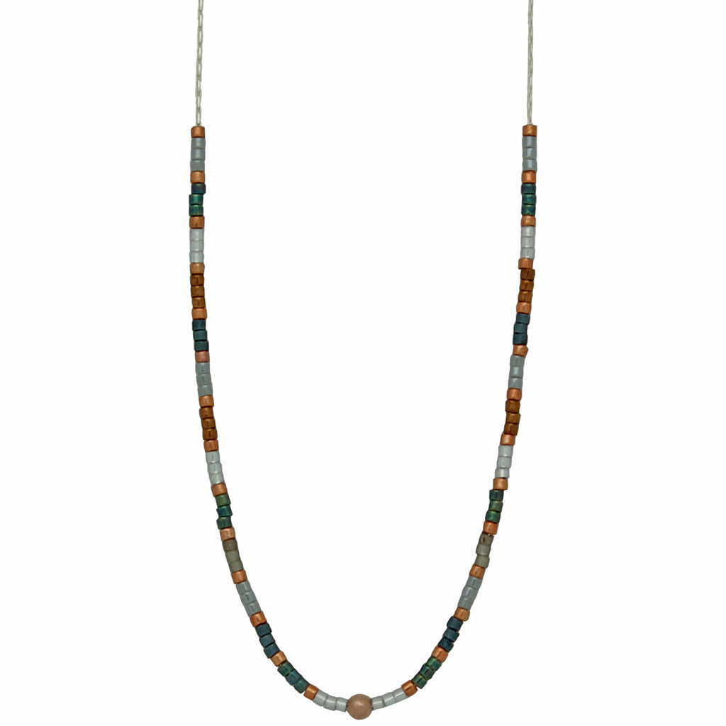 STERLING SILVER CHAIN NECKLACE IN BLUE TONES