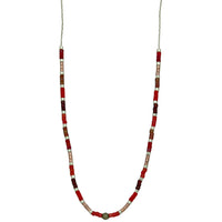 STERLING SILVER CHAIN NECKLACE IN RED TONES