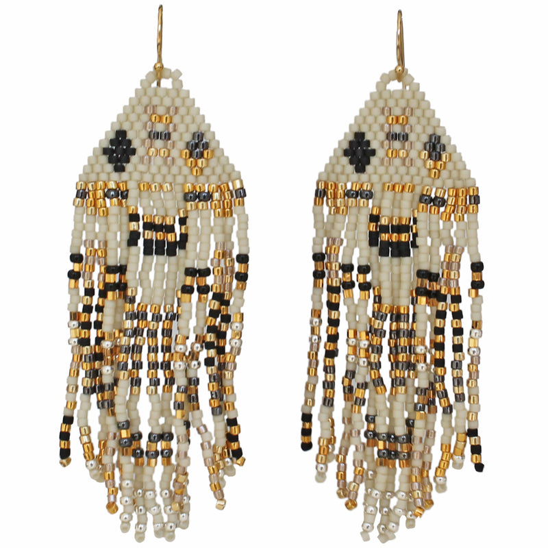 PYRAMID EARRINGS IN BEIGE, GOLD, GREY & BLACK TONES