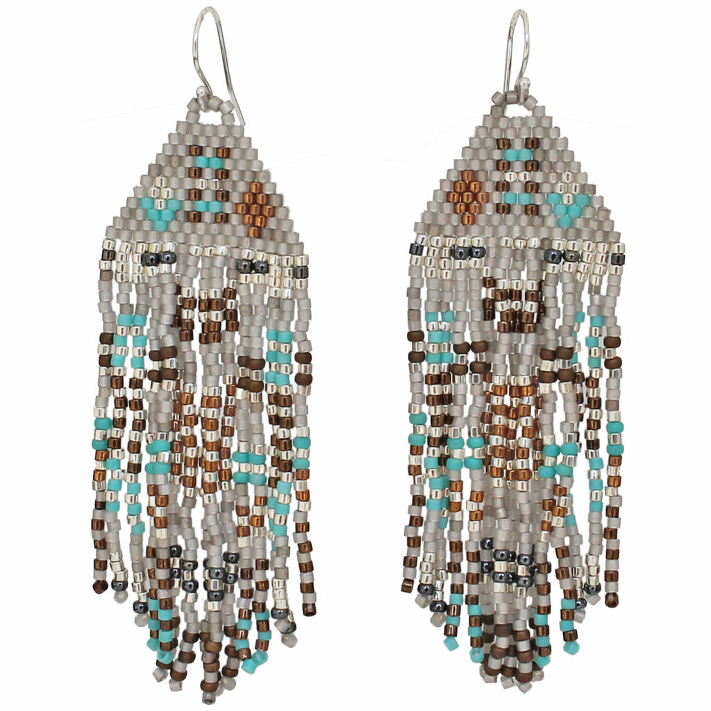 PYRAMID EARRINGS IN TURQUOISE, GREY, BROWN & SILVER