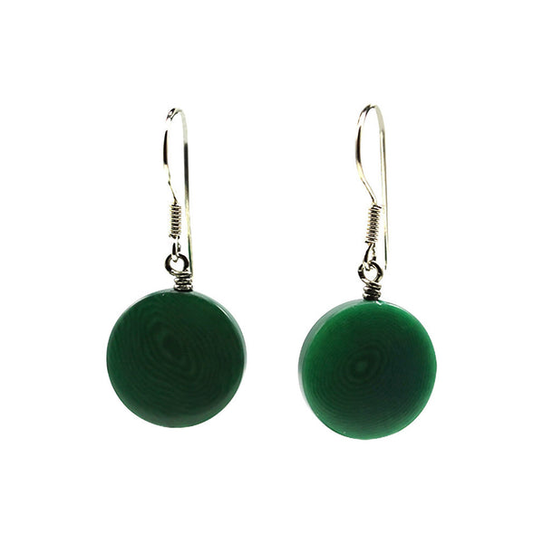 Small Vegetable Ivory Earrings Green