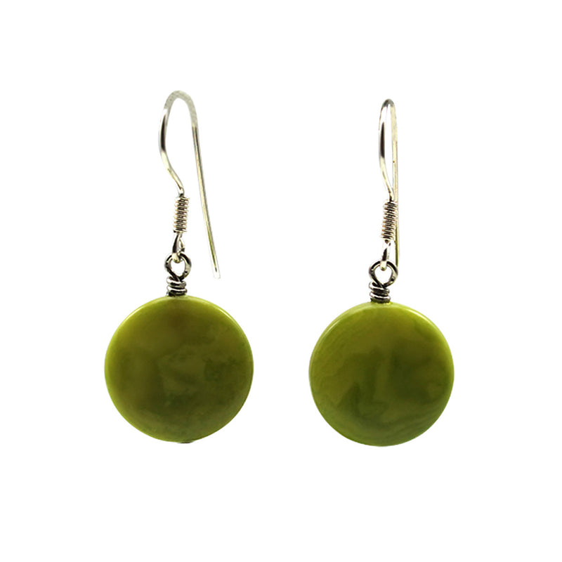 Small Vegetable Ivory Earrings Lime Green