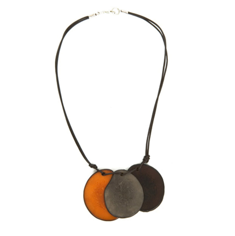 Brown and Orange Vegetable Ivory Necklace