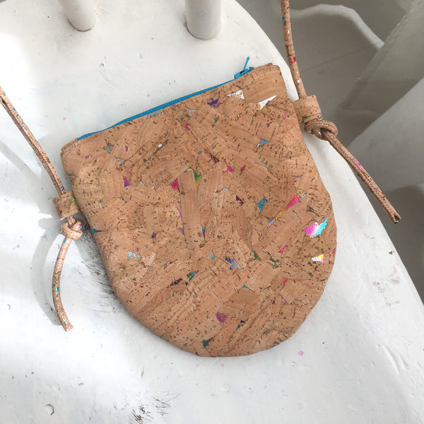 how to sew a cork leather bag, half moon shaped