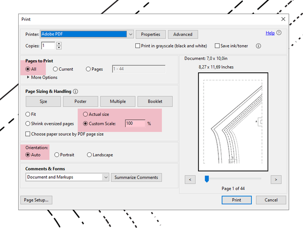 setting the right printer settings when printing a PDF sewig pattern at home