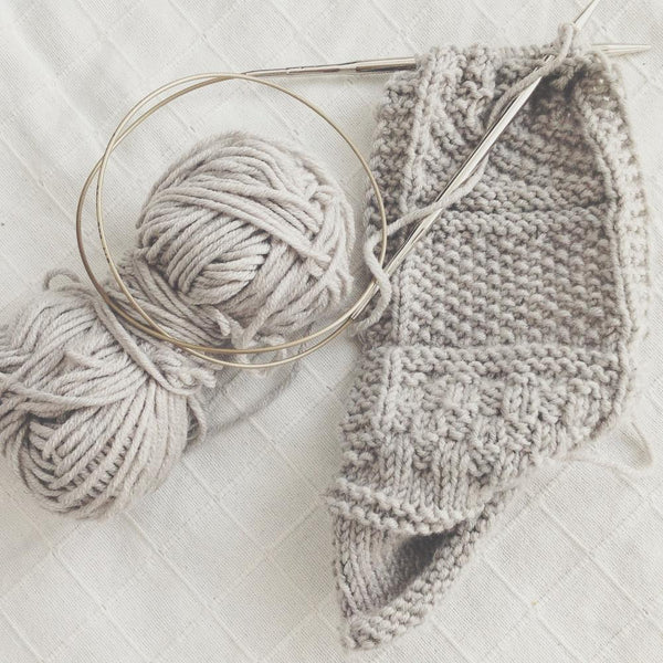 swatching for a knit scarf design