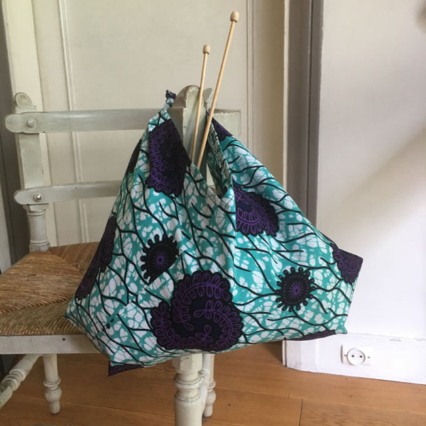 Tsuno Tie Bag PDF sewing Pattern and video tutorial - project bag knitting - bento bag - produce bag