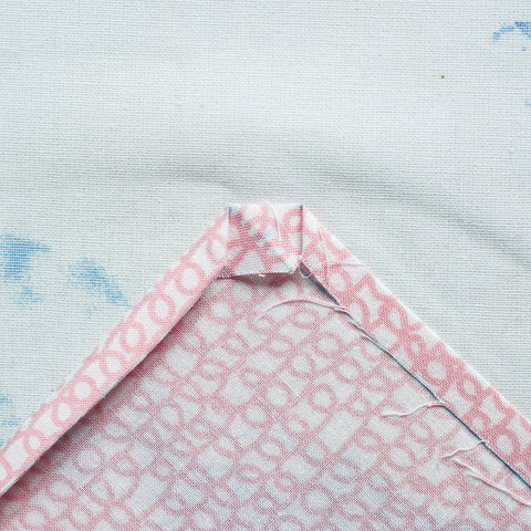 sew a mitered double fold hem on a napkin