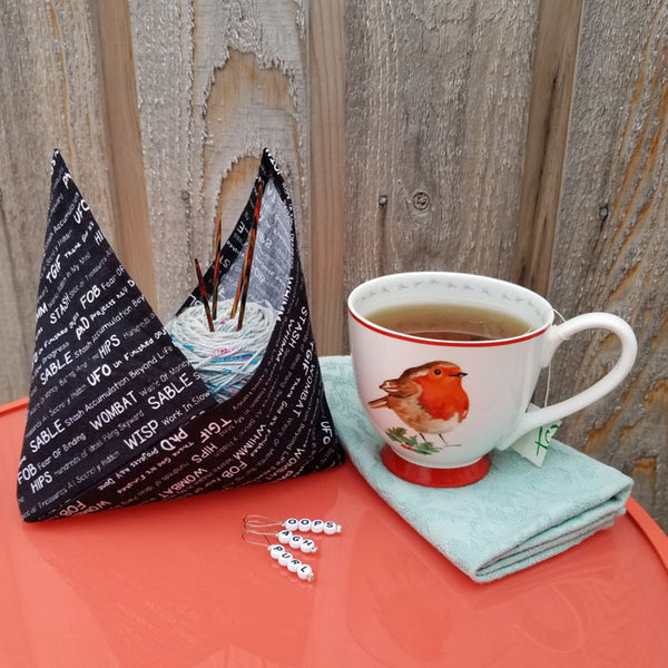 Tsuno Tie Bag PDF sewing Pattern and video tutorial - knitting project bag - bento bag pattern - azuma