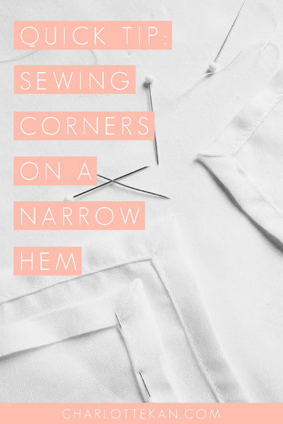 sewing corners on a narrow hem