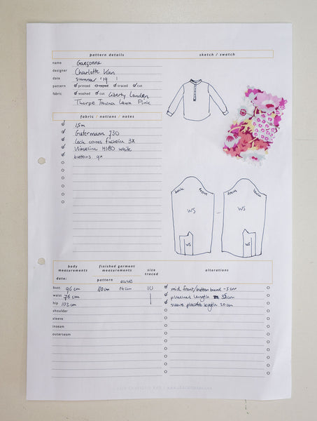 Sewing planner page template free pdf download