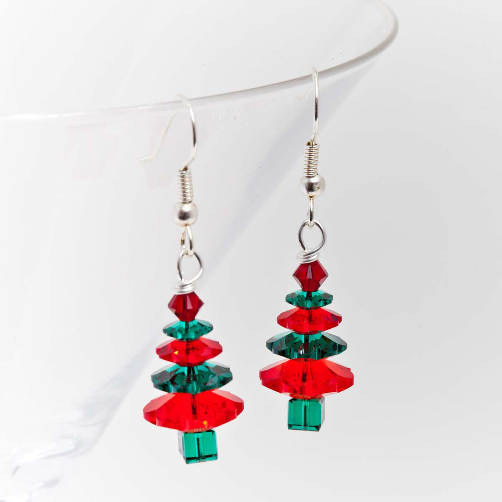christmas earrings tree lampxmastreeears lrg lampwork
