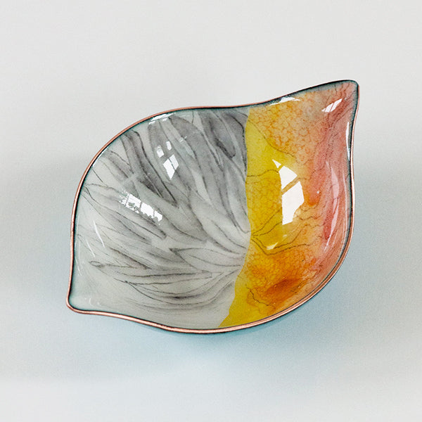 one of a kind copper and glass enamelware bowl, functional art for the kitchen, handcrafted in USA by Seattle artist