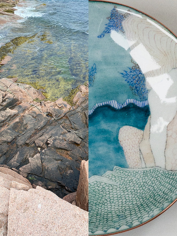 handmade copper and glass enamel bowl with Acadia coastline rock that inspired the design