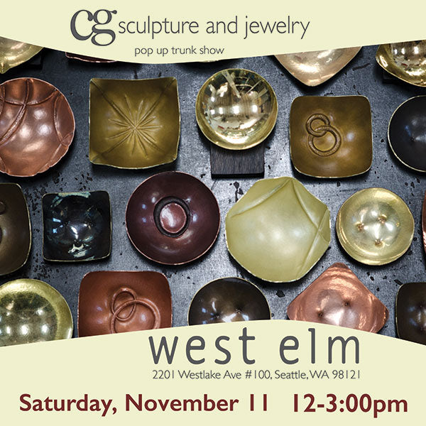 new copper and brass bowl series featured at West Elm Seattle handcrafted by artist Catherine Grisez