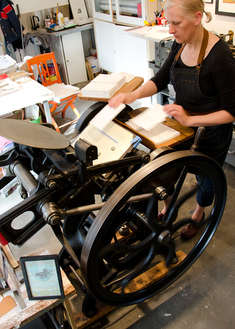Carol Clifford letterpress card making for CG Sculpture and Jewelry