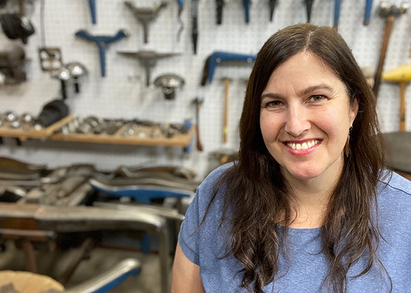 Catherine Grisez in art studio where she makes sculpture and jewelry