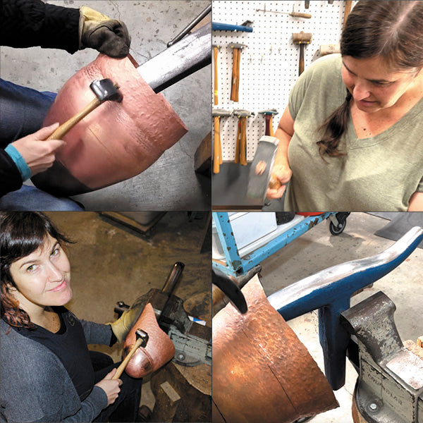 Catherine Grisez raising and hammering copper vessels at CG Sculpture and Jewelry