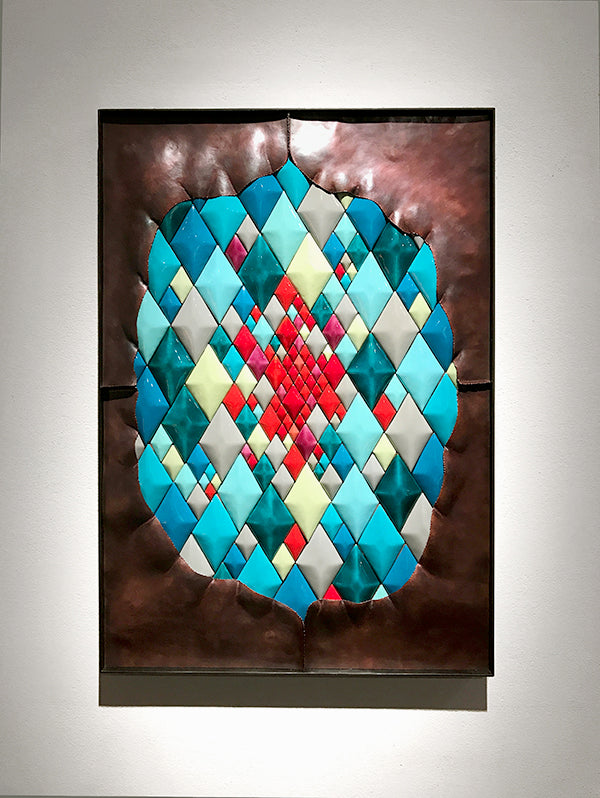 Unveil hammered copper and colorful enamel diamonds wall art in contemporary steel frame