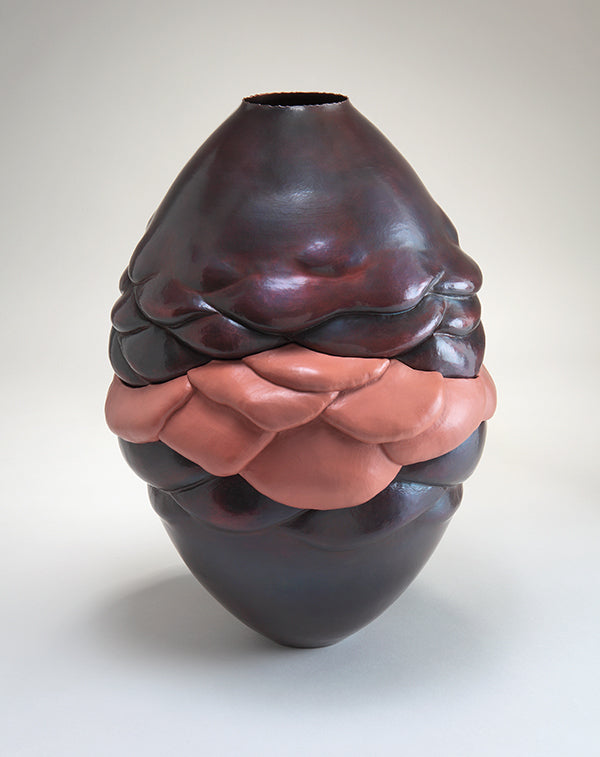 pink and red hammered and electroformed copper vessel with drooping folds, handcrafted by Seattle artist Catherine Grisez at CG Sculpture and Jewelry