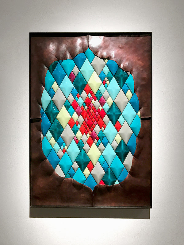 hammered copper and colored harlequin diamond wall art in contemporary steel frame