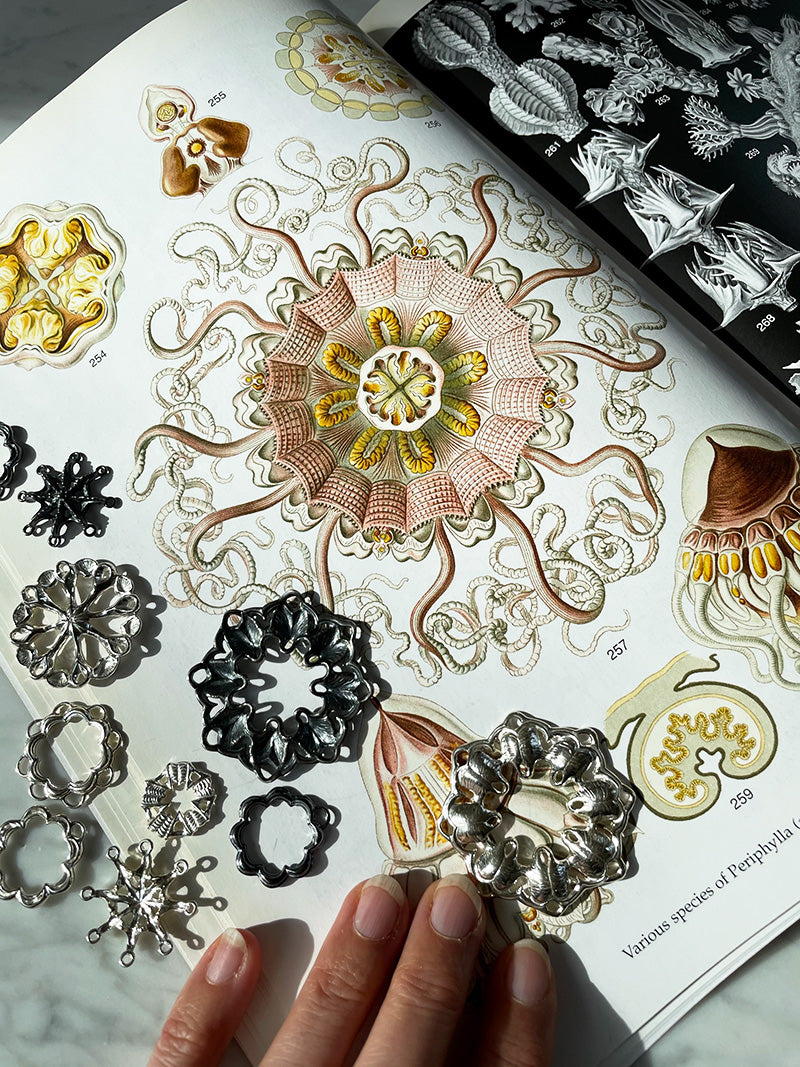 ernst haeckel illustration book with hand carved silver jewelry parts inspired by the drawings