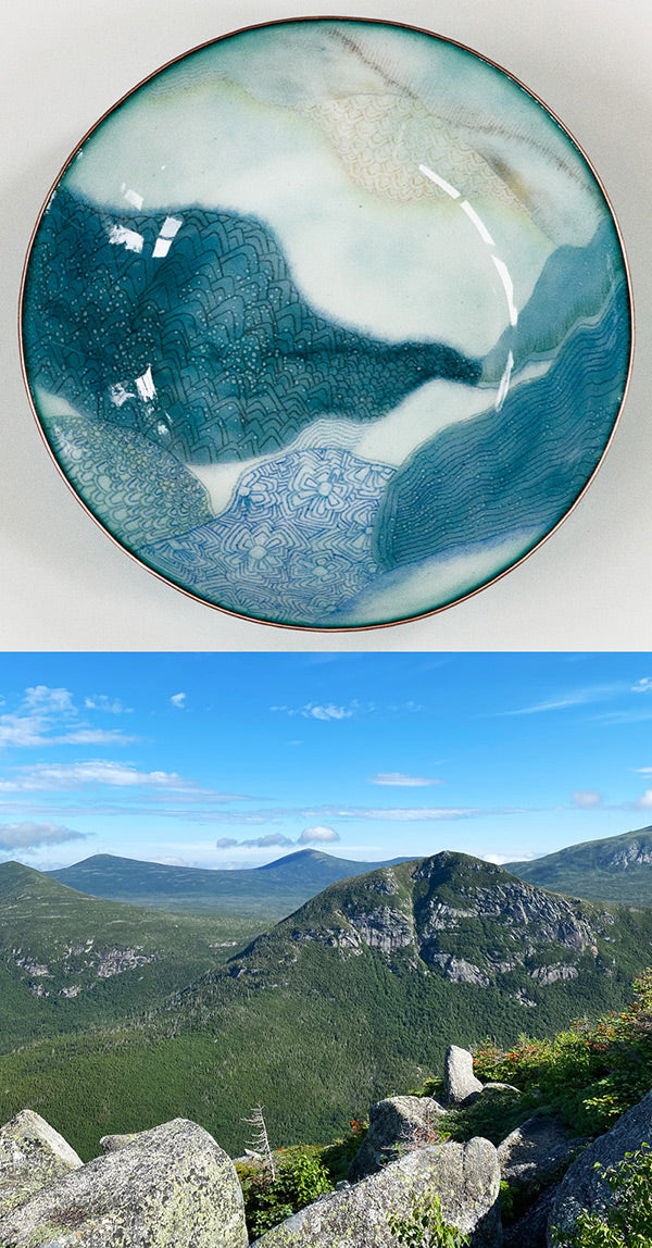 handmade copper and glass enamel bowl with Mt Katahdin hiking view that was the inspiration for the design