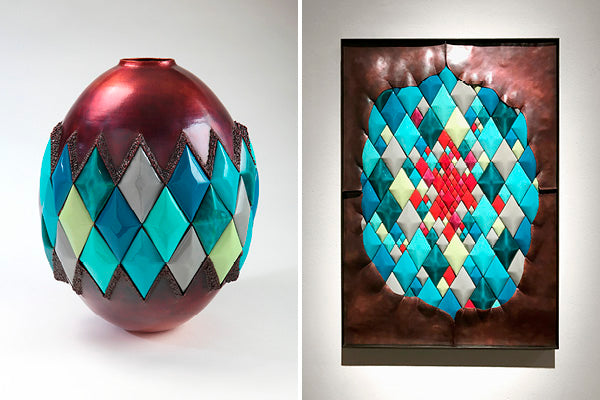 copper and colorful enamelware diamond vessel and wall sculpture handcrafted by Washington artist