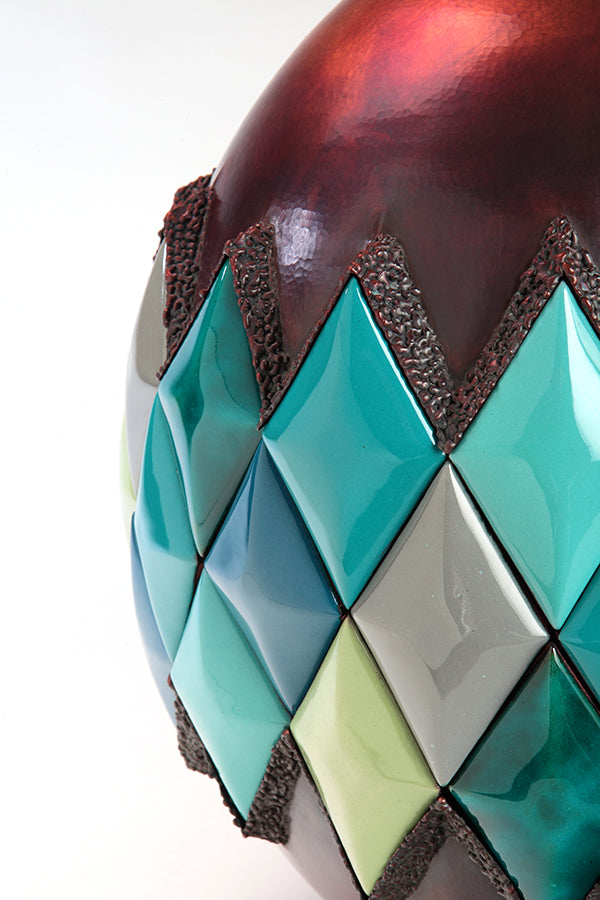 colorful enamelware diamond and hammered copper vessel sculpture, contemporary art