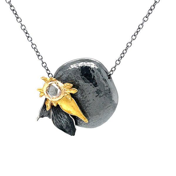 recycled silver and fair mined 14k yellow gold one of a kind necklace with 18th century antique rose cut diamond