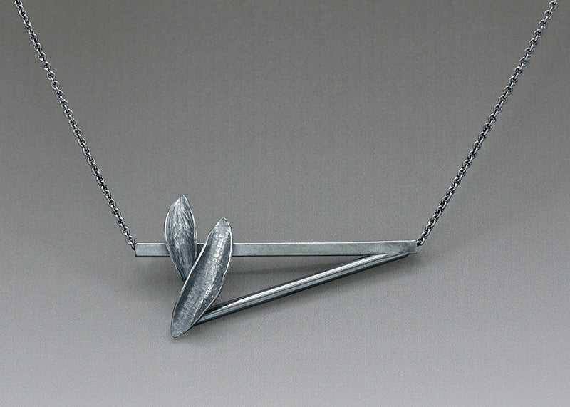 leaf bar necklace from Resilient Collection inspired by backpacking trip around Mt St Helens