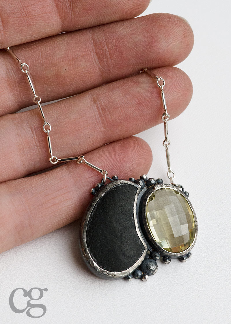 one of a kind lemon quartz, beach rock, and darkened sterling silver necklace made in Seattle by artist Catherine Grisez