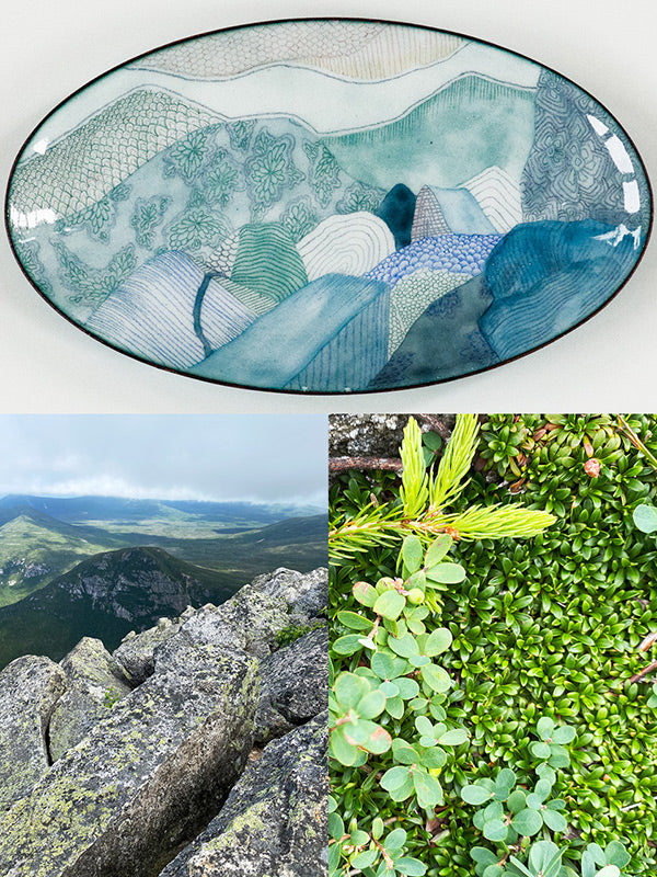 handmade copper and glass enamel bowl with Mt Katahdin viewpoint and tiny green plants that were the inspiration for the design
