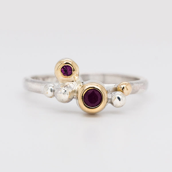 recycled silver and 14k gold with wyoming ruby and anthill garnet in a one of a kind Rock ring handmade in Seattle by artist Catherine Grisez