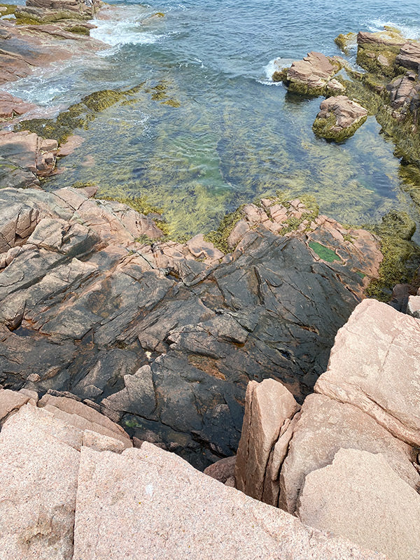 Acadia National Park coastline in Maine with interesting rocks and clear water
