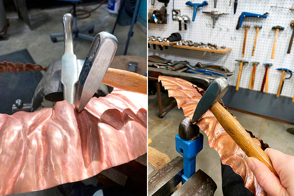 hammering waves and fold texture into sheet copper at CG Sculpture and Jewelry