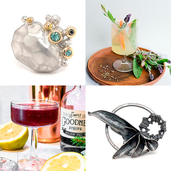 artistic statement silver rings and cocktails by Simple Goodness Sisters