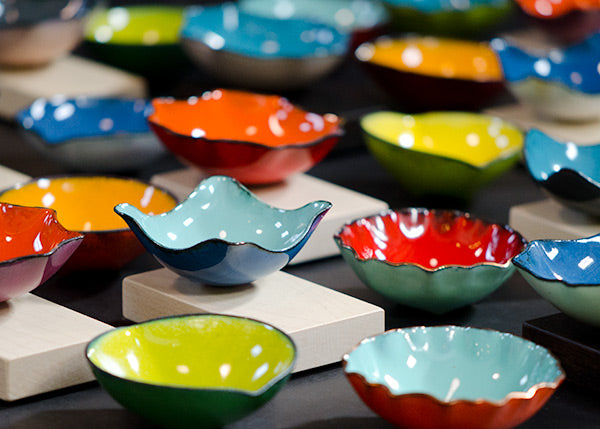 colorful handcrafted copper and glass bitty bowls by Seattle artist Catherine Grisez