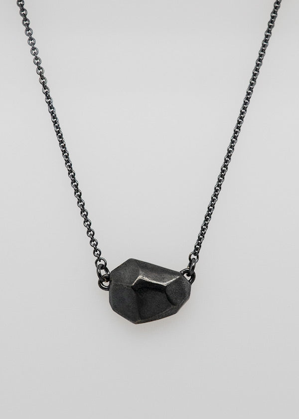 darkened sterling silver rock necklace handcrafted by artist Catherine Grisez
