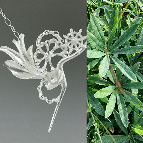 one of a kind nature inspired sterling silver statement necklace and green plant