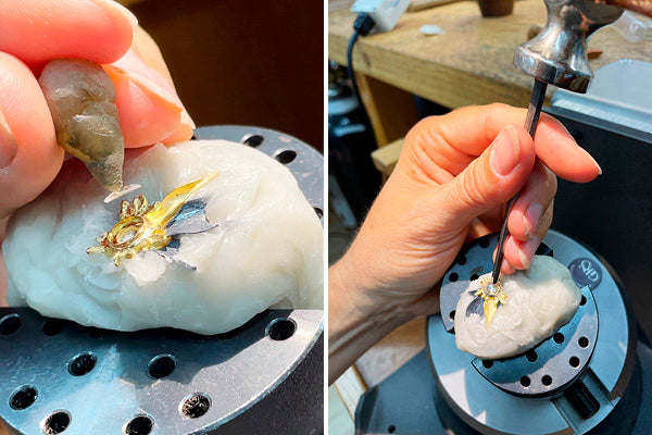 setting antique rose cut diamond from 18th century in one of a kind silver and gold necklace