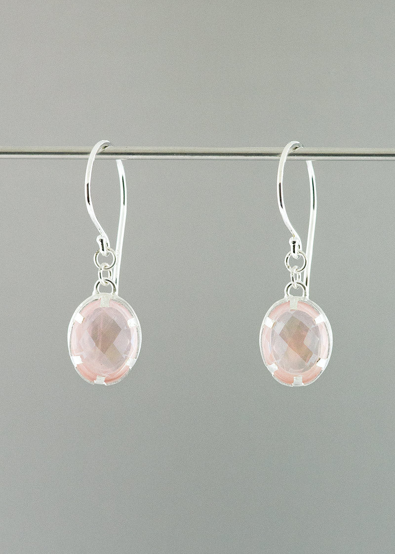fair mined fair trade rose quartz sterling silver earrings by CG Jewelry