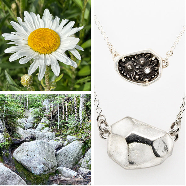 flowers and rock in nature and the silver necklace it inspired handmade in Seattle by artist Catherine Grisez with CG Sculpture and Jewelry