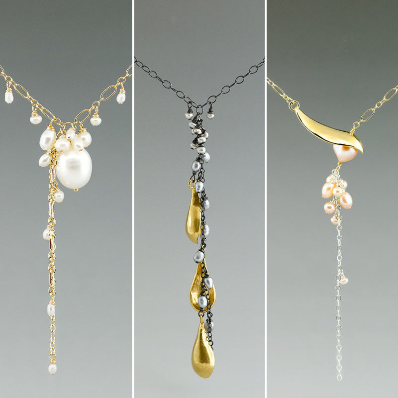 gold vermeil and fresh water pearl necklaces made by CG Sculpture and Jewelry