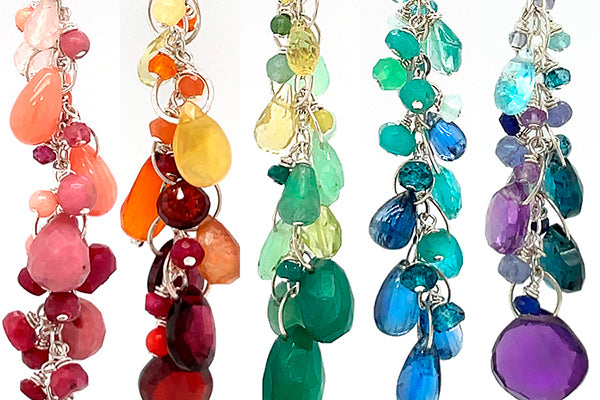 rainbow gradient gemstone necklaces made by hand in Seattle by artist Catherine Grisez