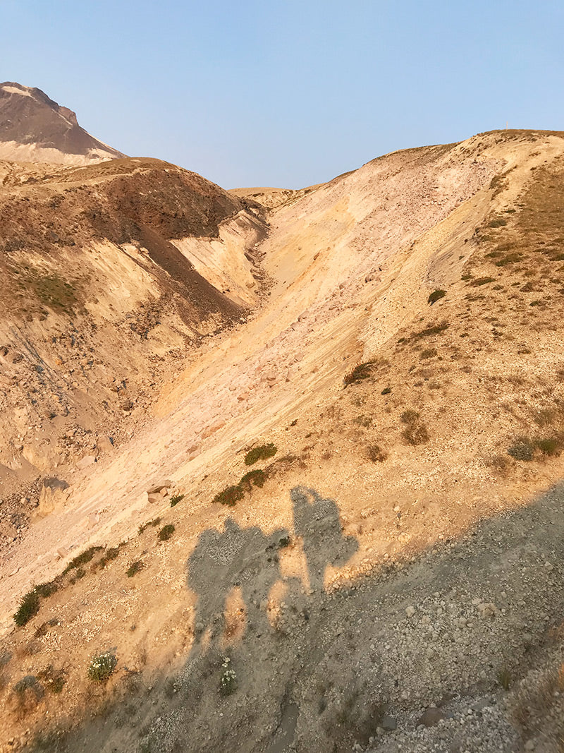 backpacking Mt St Helens Loowit Trail shadows on the mountain