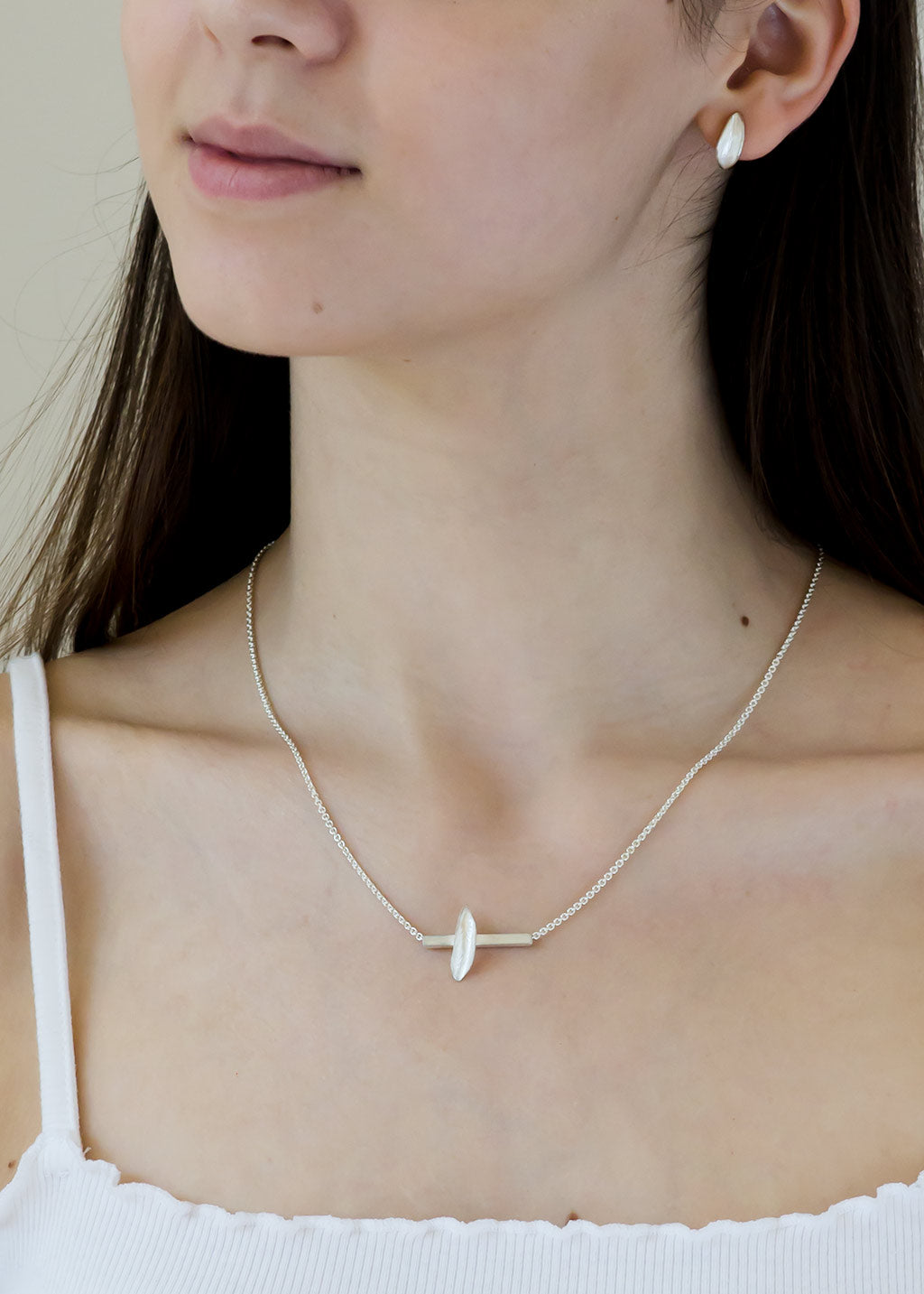 sterling silver hug earrings and leaf bar necklace, artist made jewelry from Seattle WA