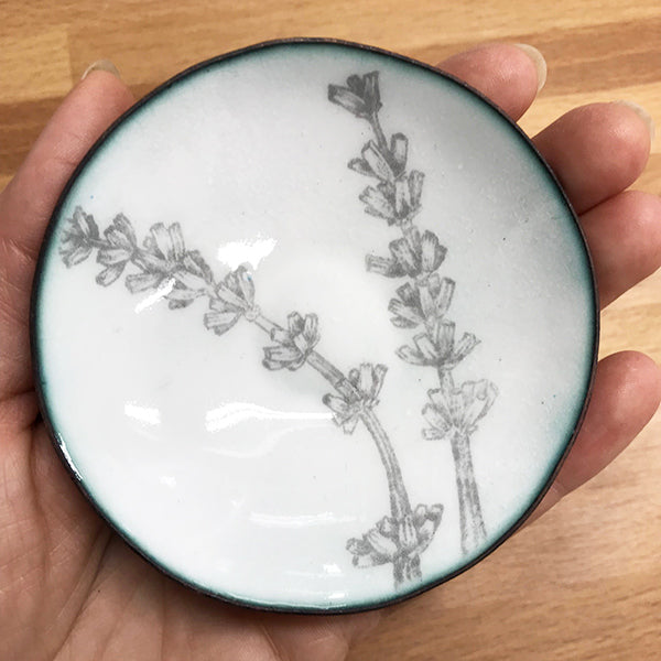 lavender enamelware bowl handmade with copper, glass, and graphite by Seattle artist Catherine Grisez